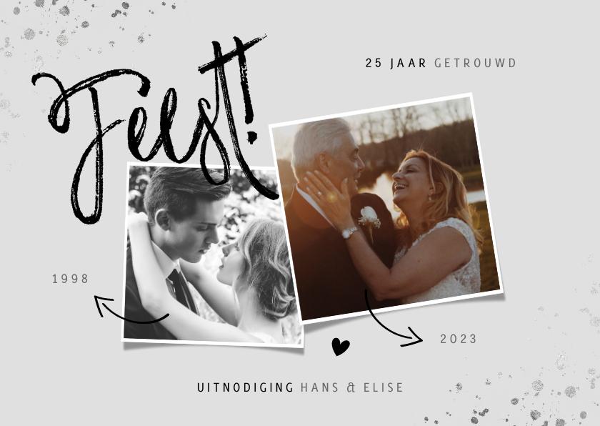 Jubileumkaarten - Huwelijksjubileum uitnodiging zilver met foto's