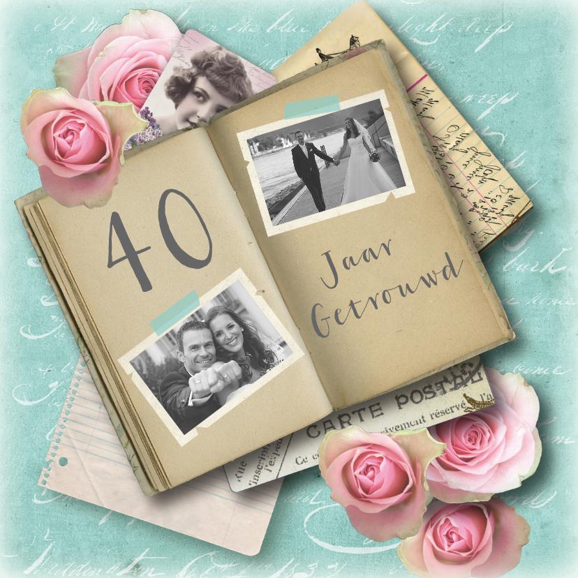 Jubileumkaarten - Huwelijksjubileum vintage foto's boekje rozen