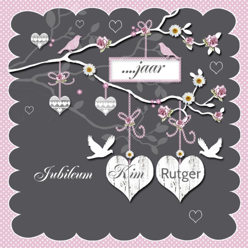 Jubileumkaarten - huwelijksjubileum witte harten tak