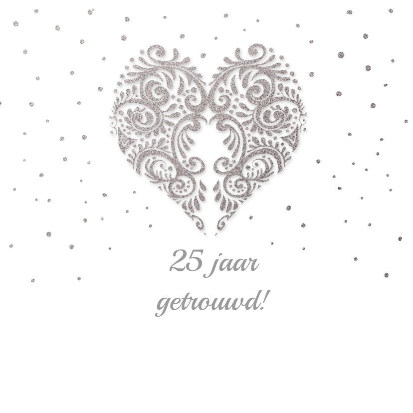 Jubileumkaarten - Huwelijksjubileum zilver hart