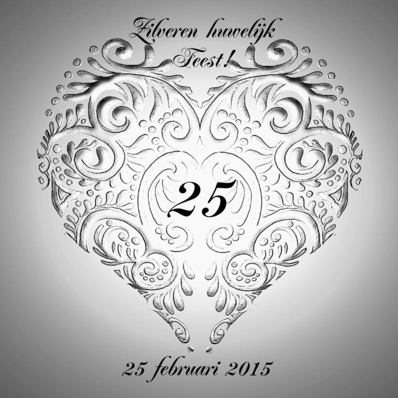 Jubileumkaarten - Huwelijksjubileum zilver met hart