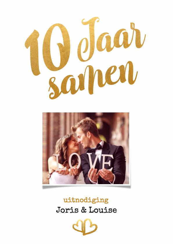 Jubileumkaarten - Jubileum 10 jaar samen goud - BK