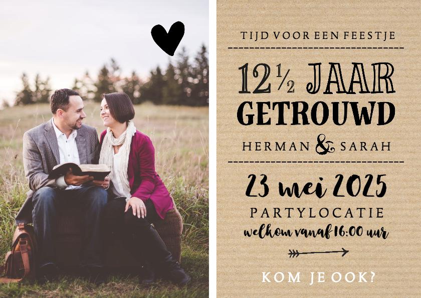 Jubileumkaarten - Jubileum - 12,5 jaar getrouwd met naam