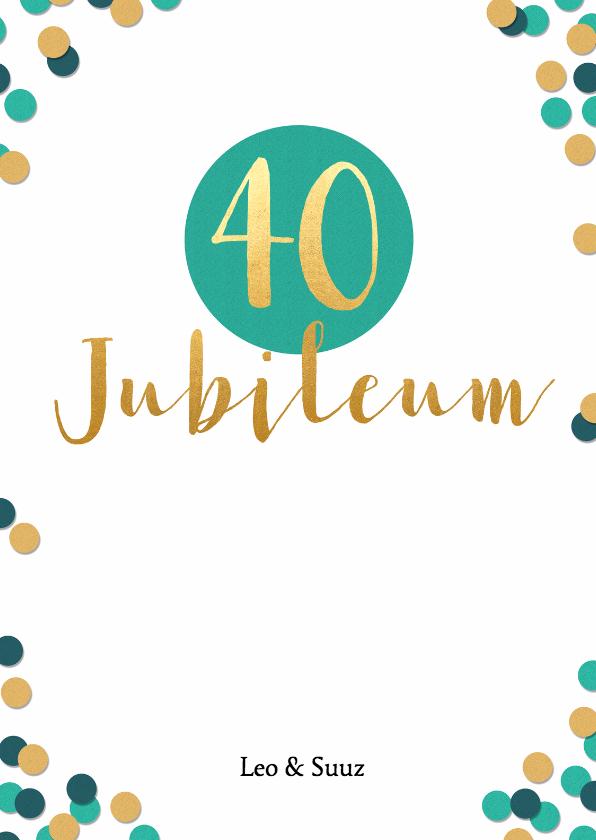 Jubileumkaarten - Jubileum 40 jaar met confetti - BK