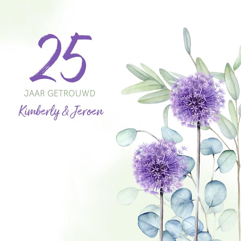 Jubileumkaarten - Jubileum eucalyptus paarse allium