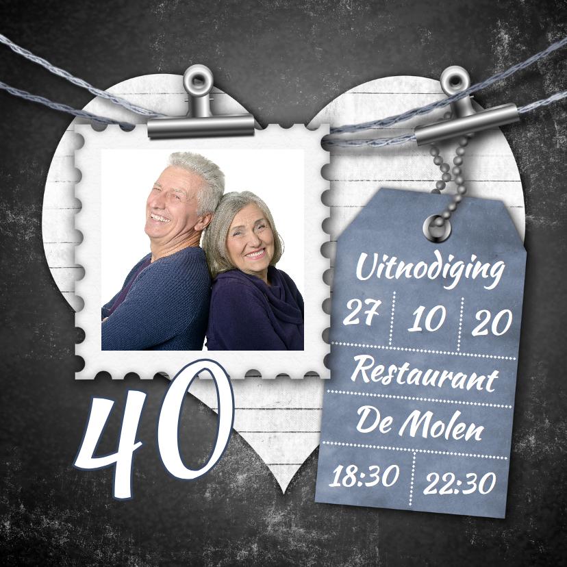 Jubileumkaarten - Jubileum feest foto en label