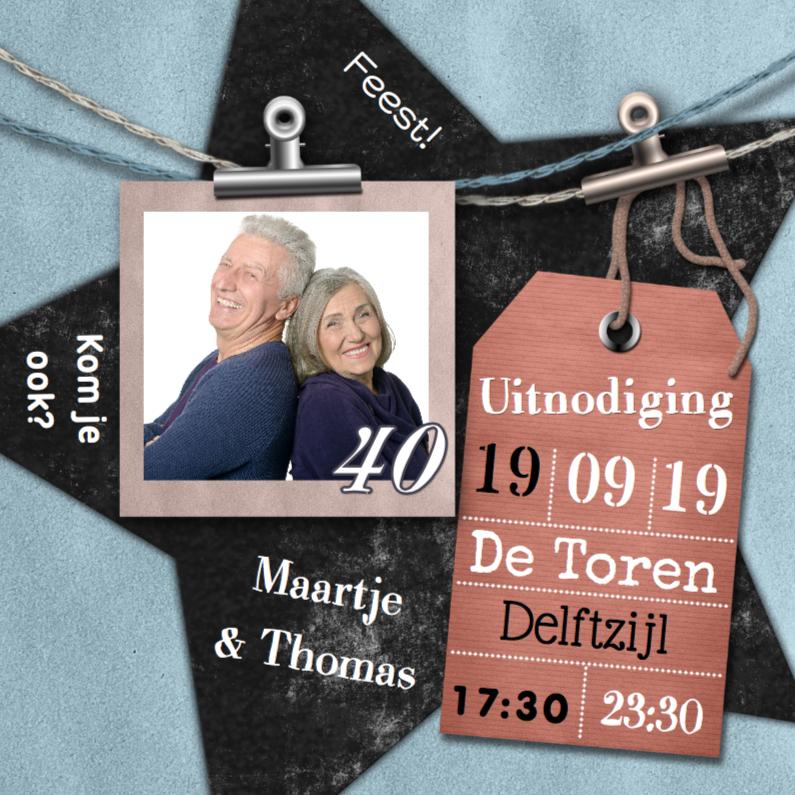 Jubileumkaarten - Jubileum foto label en ster a