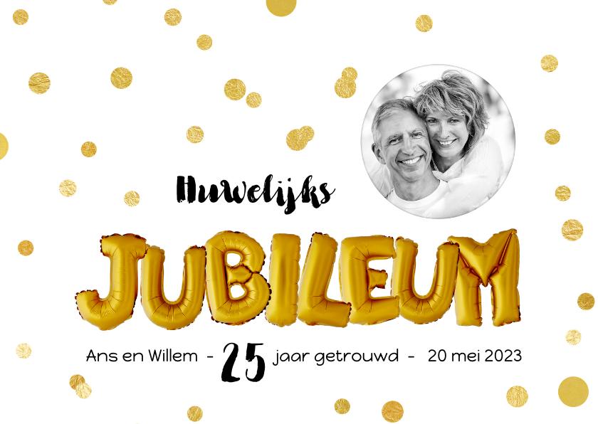 Jubileumkaarten - Jubileum gouden ballonnen met confetti