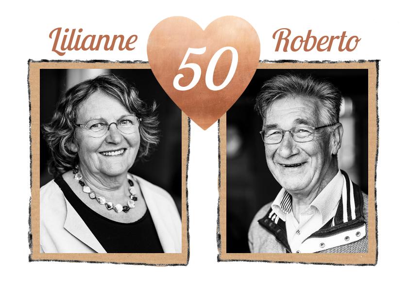 Jubileumkaarten - Jubileum hart 50 jaar getrouwd