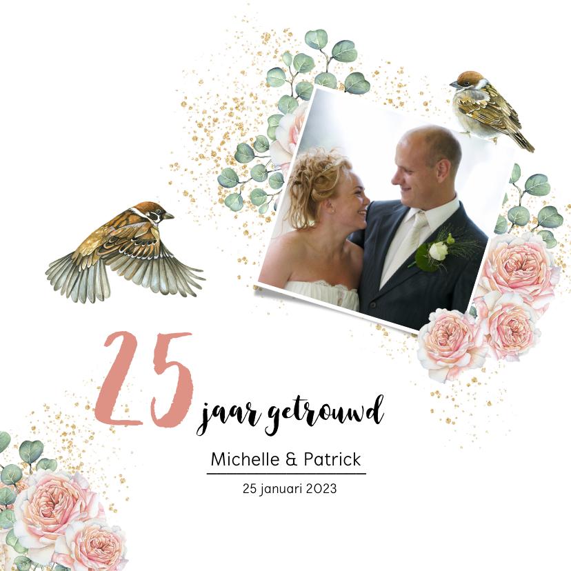 Jubileumkaarten - Jubileum huwelijk rozen botanical