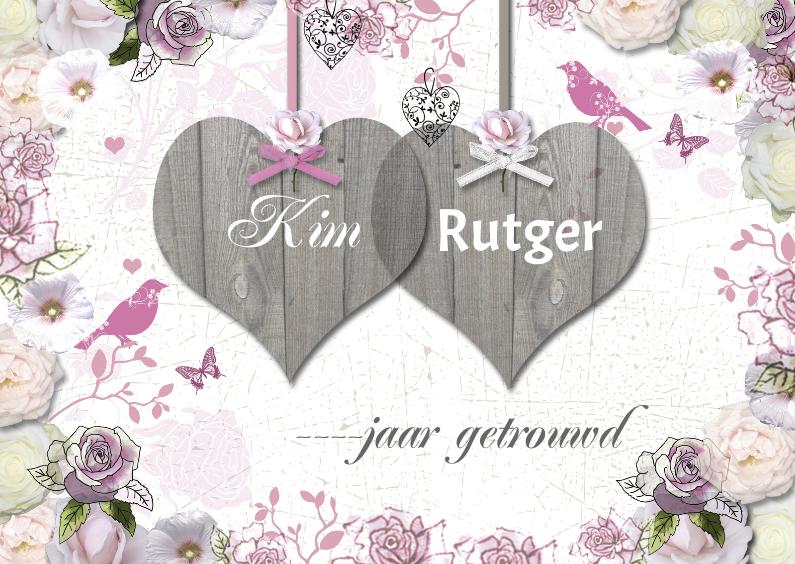 Jubileumkaarten - jubileum met houten harten