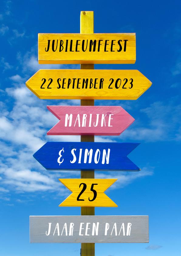 Jubileumkaarten - Jubileum trendy wegwijzer kleur