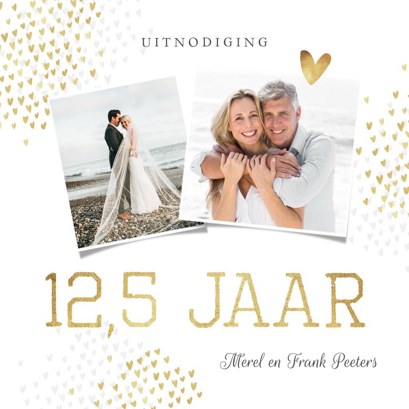Jubileumkaarten - Jubileum uitnodiging 12,5 jaar goud hartjes stijlvol