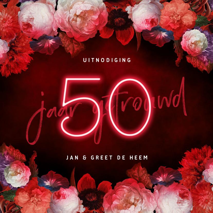 Jubileumkaarten - Jubileum uitnodiging 50 jaar bloemen en neon