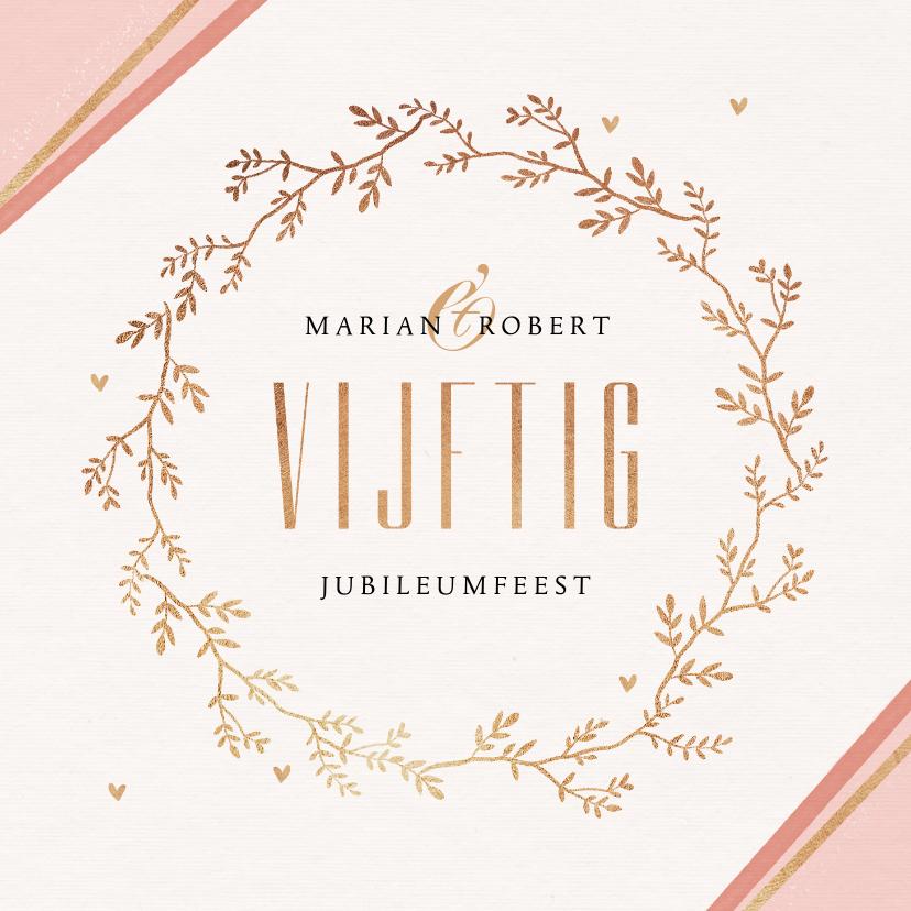 Jubileumkaarten - Jubileum uitnodiging 50 jaar getrouwd klassiek goud
