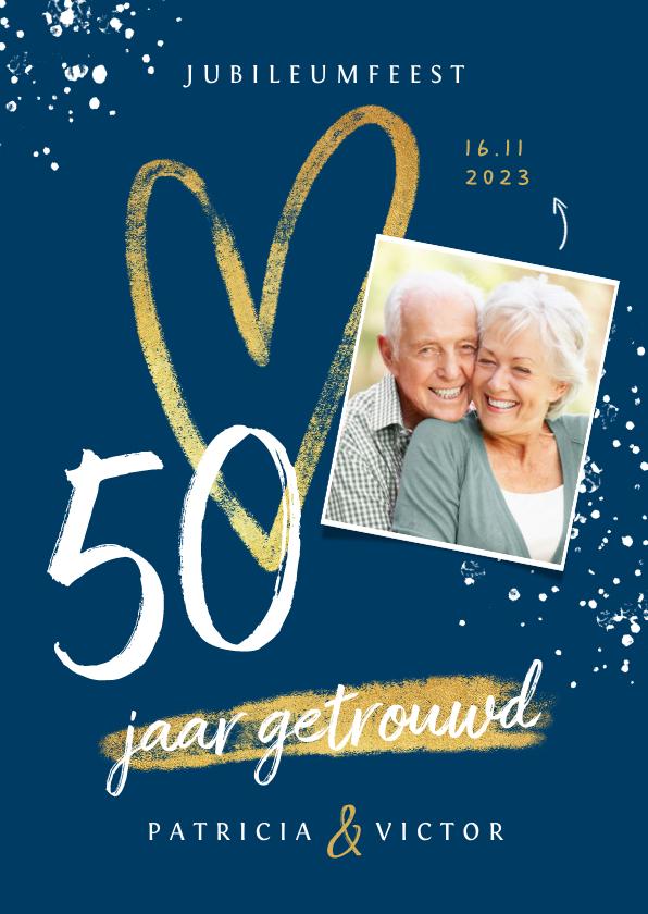 Jubileumkaarten - Jubileum uitnodiging 50 jaar goud hart foto's spetters