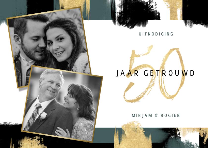 Jubileumkaarten - Jubileum uitnodiging '50 jaar' met verfstrepen en foto's
