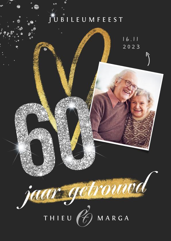Jubileumkaarten - jubileum uitnodiging 60 jaar diamant foto glitter goud
