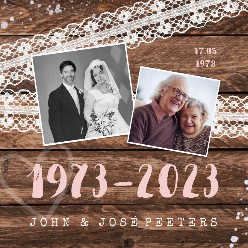 Jubileumkaarten - Jubileum uitnodiging hip hout vintage kant met foto's
