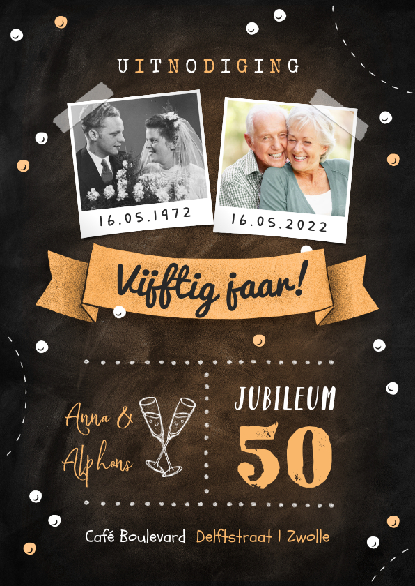 Jubileumkaarten - Jubileum uitnodiging krijtbord confetti foto's champagne