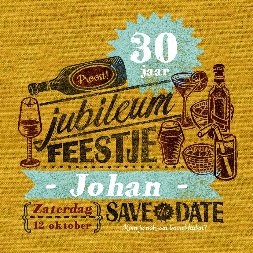 Jubileumkaarten - Jubileum uitnodiging stempel geel drank