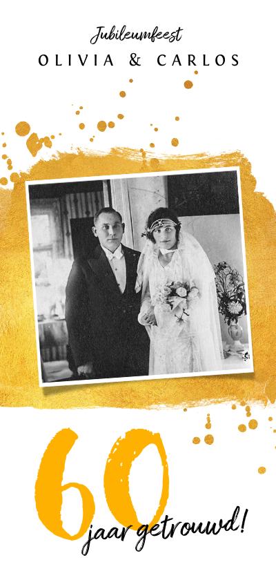 Jubileumkaarten - Jubileum uitnodiging stijlvol met goud en eigen foto