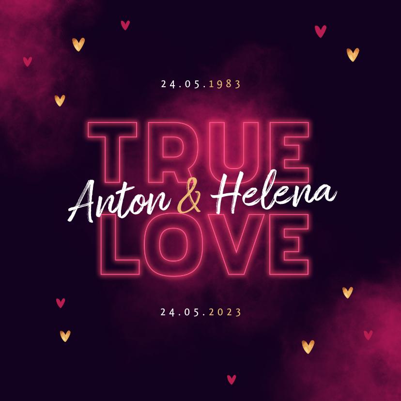 Jubileumkaarten - Jubileum uitnodiging true love neon hartjes