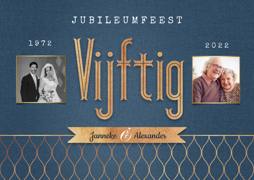 Jubileumkaarten - Jubileum vijftig 50 jaar vintage goud foto's