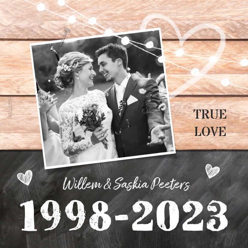 Jubileumkaarten - Jubileumfeest huwelijk hout krijtbord lampjes foto jaartal