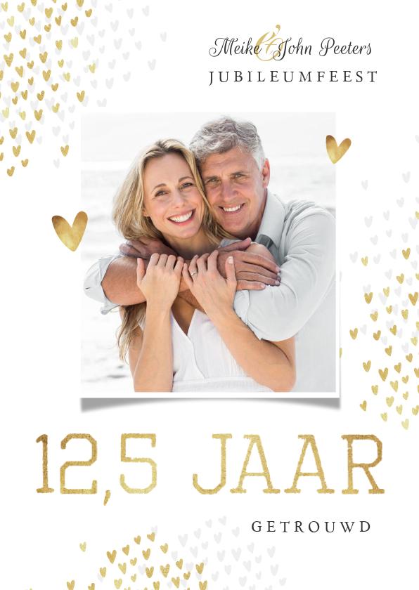Jubileumkaarten - Jubileumfeest uitnodiging 12,5 jaar goud hartjes stijlvol