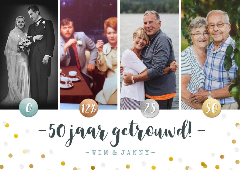 Jubileumkaarten - Jubileumfeest uitnodiging fotocollage brons > zilver > goud!