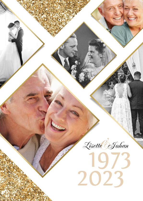 Jubileumkaarten - Jubileumfeest uitnodiging fotocollage goud jaartallen