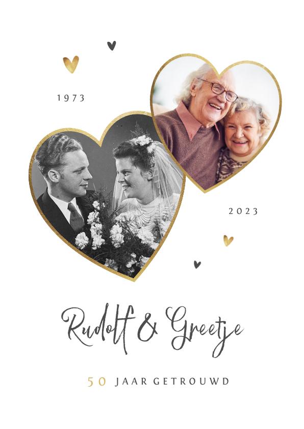 Jubileumkaarten - Jubileumfeest uitnodiging stijlvol hartjes liefde goud
