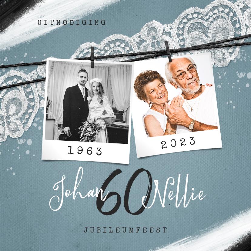Jubileumkaarten - Jubileumfeest uitnodiging vintage kant verf foto