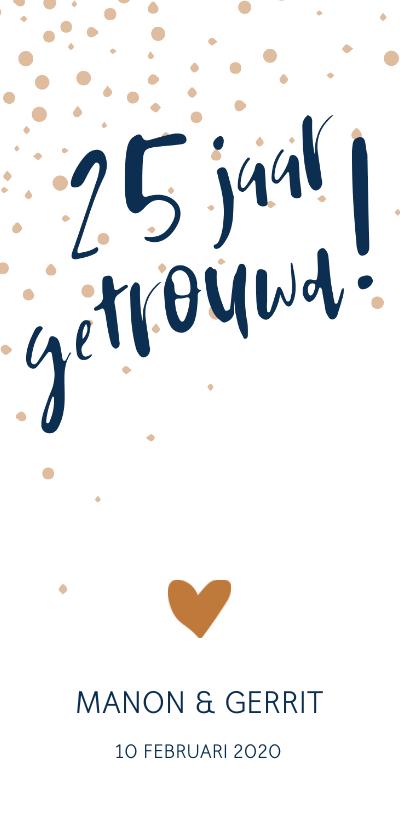 Jubileumkaarten - Jubileumkaart '25 jaar getrouwd!' met confetti
