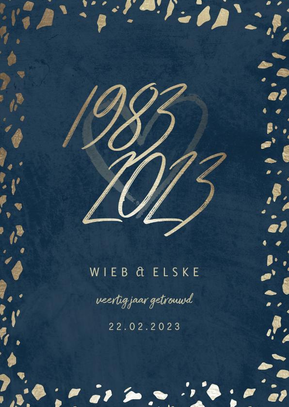 Jubileumkaarten - Jubileumkaart 40 jaartallen donkerblauw met terrazzo
