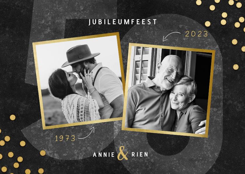 Jubileumkaarten - Jubileumkaart 50 jaar getrouwd gouden confetti en foto's