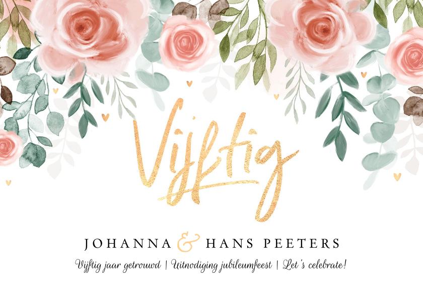Jubileumkaarten - Jubileumkaart 50 jaar huwelijk bloemen klassiek foto