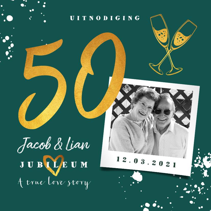 Jubileumkaarten - Jubileumkaart 50 jaar huwelijk groen stijlvol met champagne