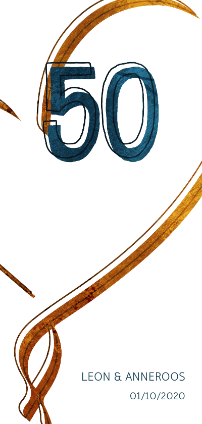Jubileumkaarten - Jubileumkaart 50 jaar met hart