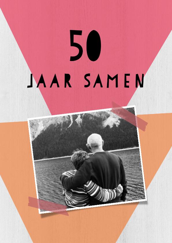 Jubileumkaarten - Jubileumkaart 50 jaar samen geometrisch - DH