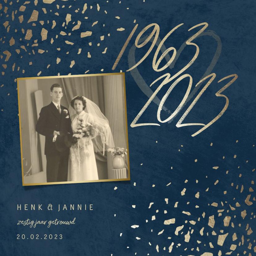 Jubileumkaarten - Jubileumkaart 60 foto jaartallen donkerblauw met terrazzo