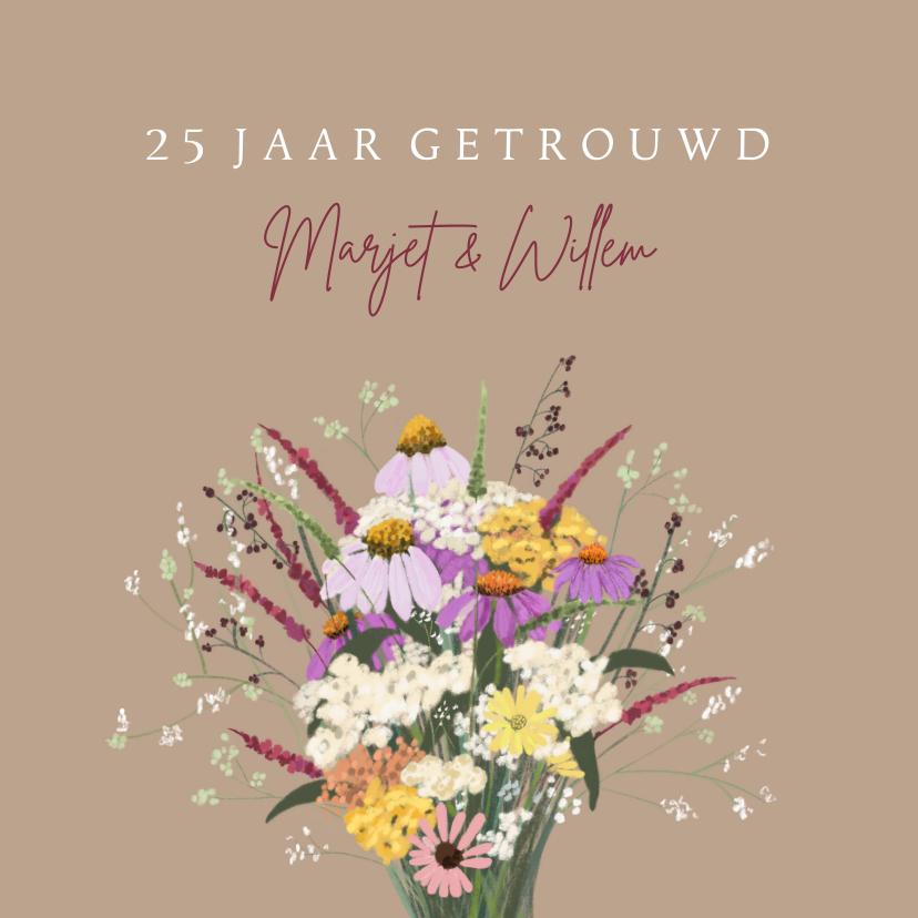 Jubileumkaarten - Jubileumkaart bruidspaar boeket vrolijke bloemen
