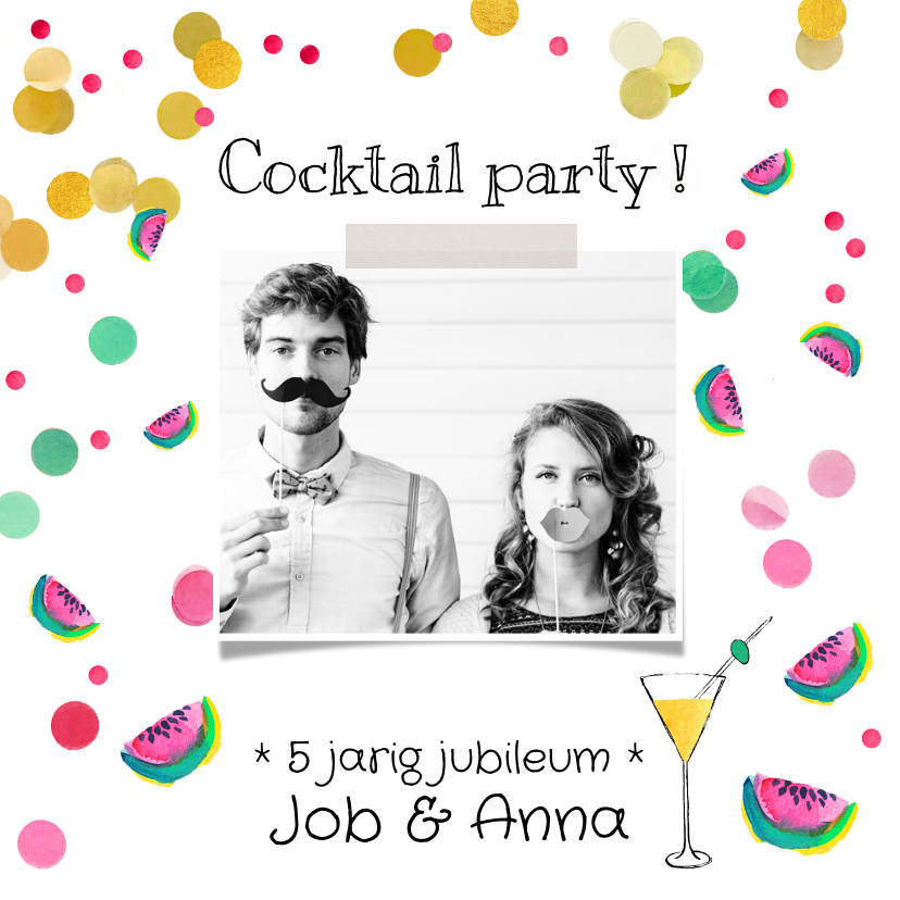Jubileumkaarten - Jubileumkaart cocktail party meloen