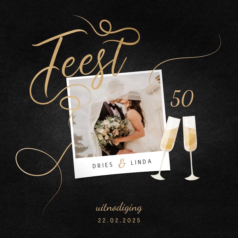 Jubileumkaarten - Jubileumkaart feest champagne met foto en gouden linten