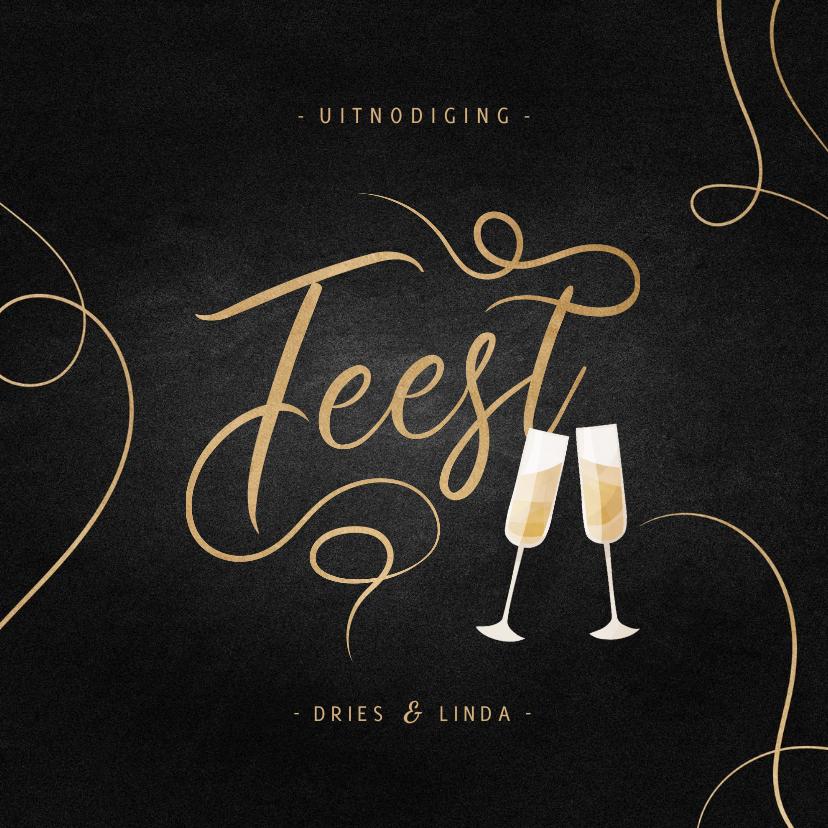 Jubileumkaarten - Jubileumkaart feest champagne met gouden linten