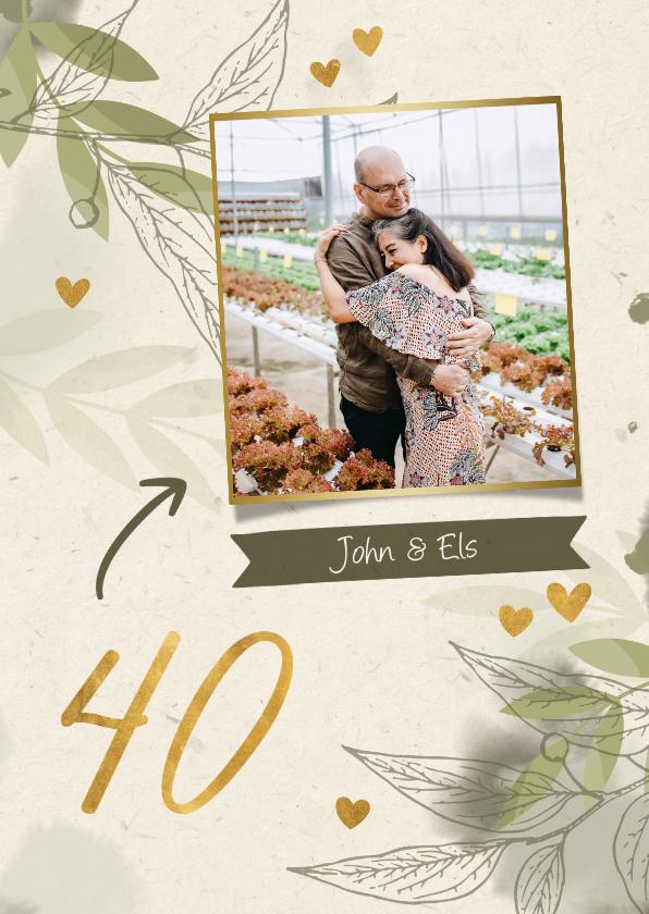 Jubileumkaarten - Jubileumkaart foto met takjes, gouden hartjes en waterverf