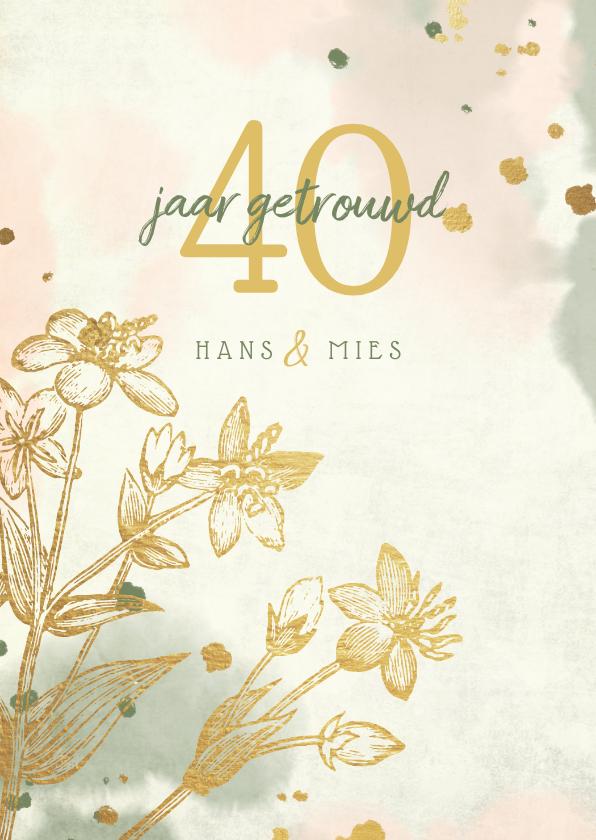 Jubileumkaarten - Jubileumkaart gouden bloemen met waterverf en spetters