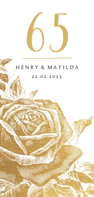 Jubileumkaarten - Jubileumkaart gouden rozen met  jaartal