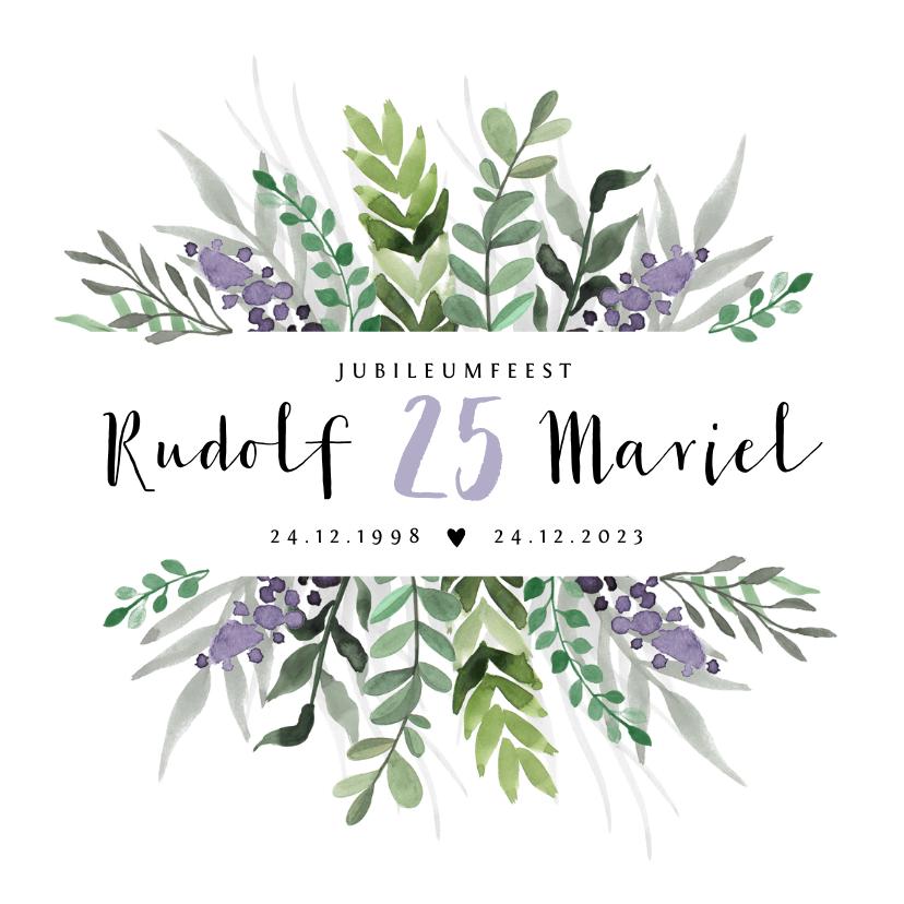Jubileumkaarten - Jubileumkaart huwelijk stijlvol en klassiek met bloemen